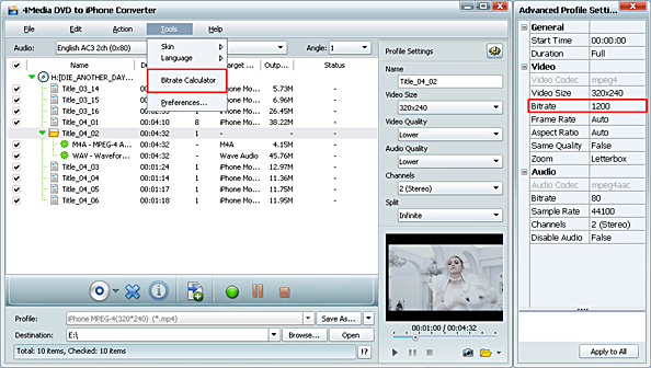 DVD to iPhone MP4 converter