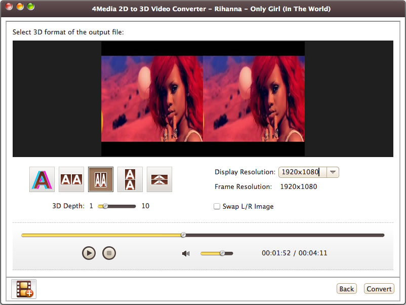 4Media 2D to 3D Video Converter for Mac Screenshot