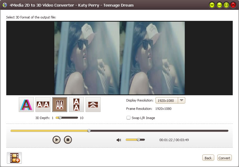 4Media 2D to 3D Video Converter Screenshot