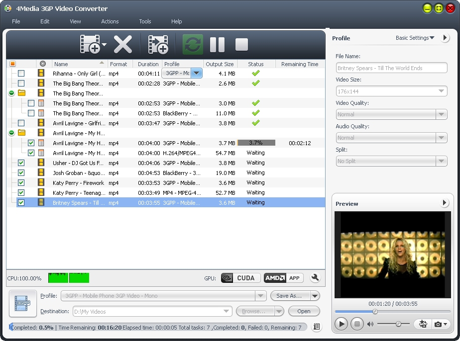 4Media 3gp Video Converter Screenshot