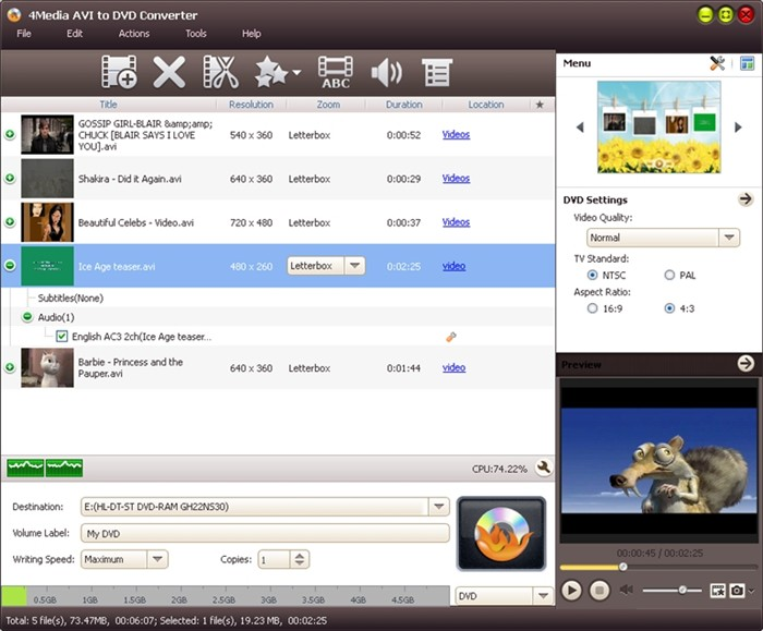 4Media AVI to DVD Converter