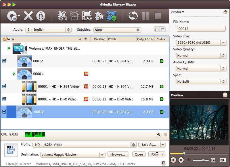 4Media Blu Ray Converter for Mac Screenshot