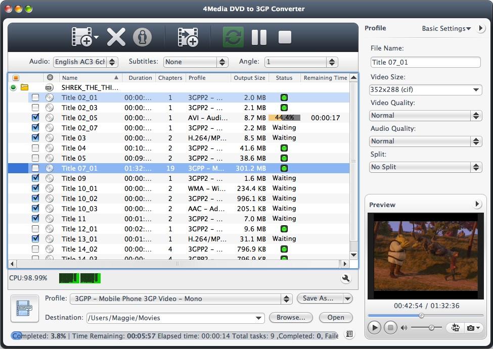 4Media DVD to 3GP Converter for Mac Screenshot