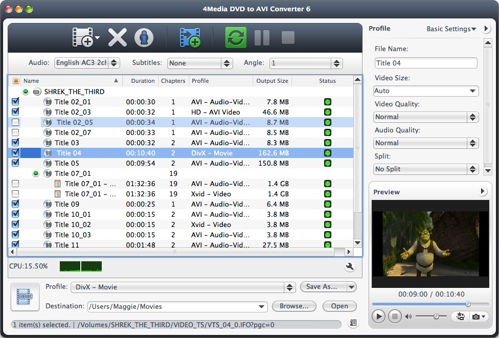 4Media DVD to AVI Converter for Mac Screenshot
