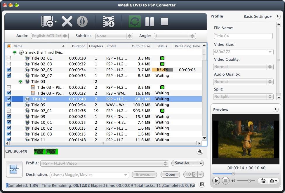 4Media DVD to PSP Covnerter for Mac Screenshot