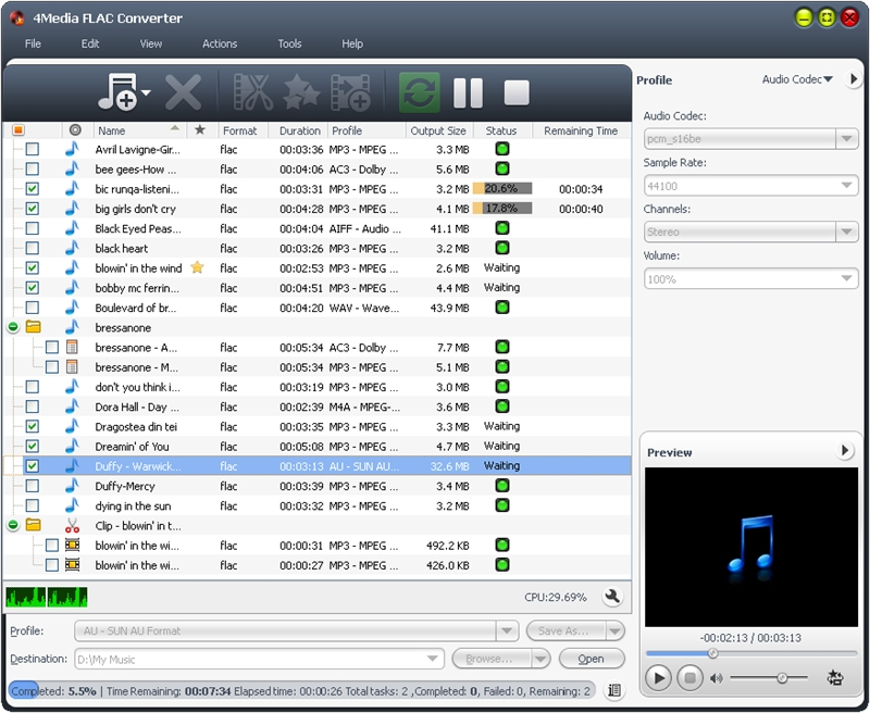 4Media FLAC Converter Screenshot