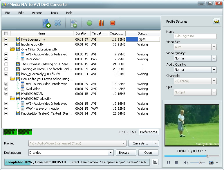 التعريب 602 ـ 4Media FLV to AVI DivX Converter 5 لتحويل FLV إلى AVI DivX XviD m-flv-to-avi-divx-co