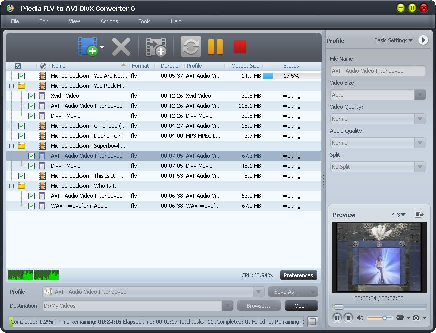 4Media FLV to AVI DivX Converter
