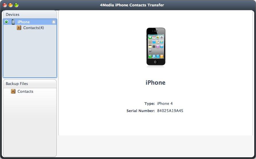 4Media iPhone Contacts Transfer for Mac Screenshot