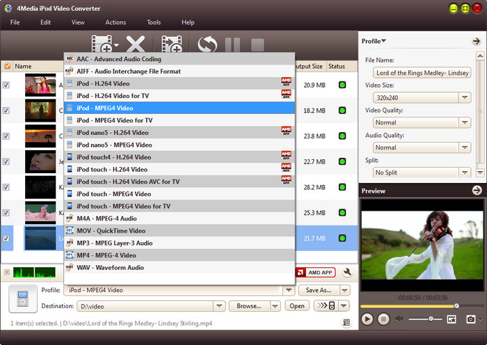 4Media iPod Video Converter - convert video to iPod, convert audio to iPod