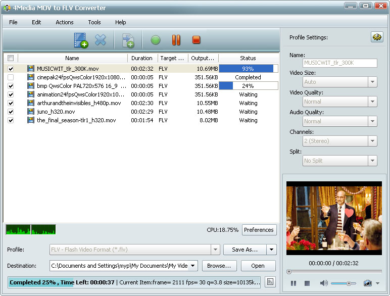 التعريب 727 4Media MOV FLV m-mov-to-flv-convert