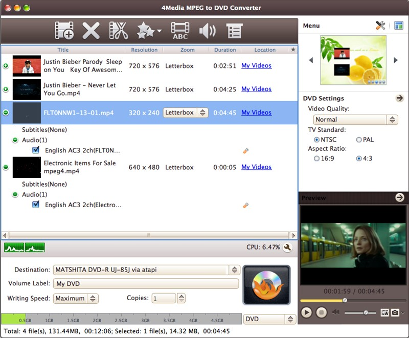4Media MPEG to DVD Converter for Mac