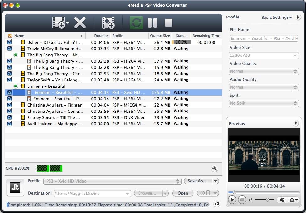 4Media PSP Video Converter for Mac Screenshot