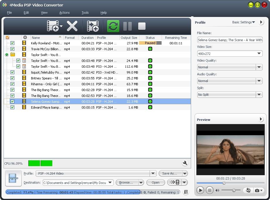 4Media PSP Video Converter Screenshot