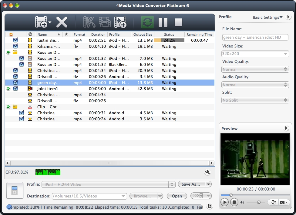 4Media Video Converter for Mac - convert video on Mac