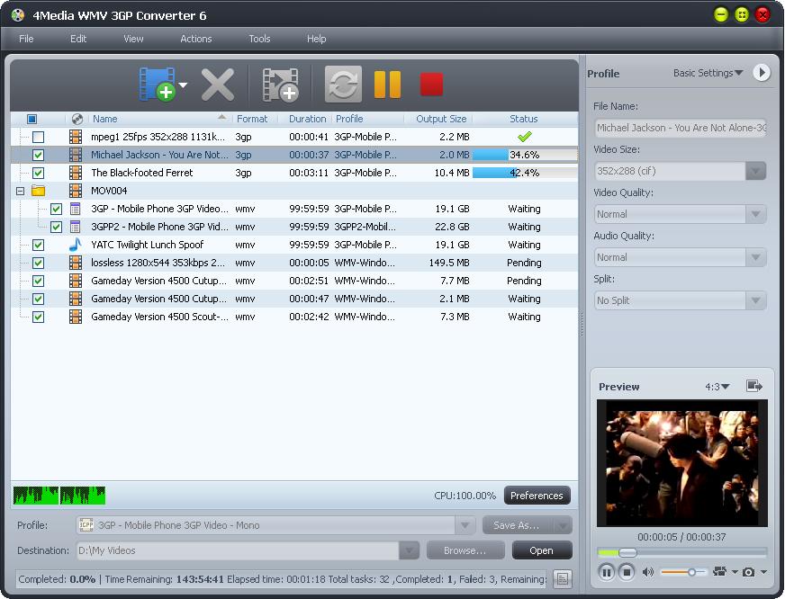 4Media WMV 3GP Converter