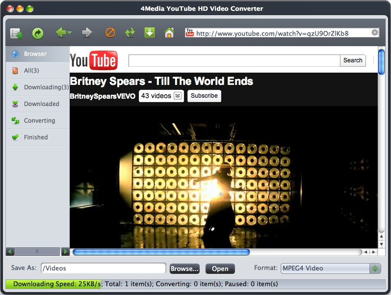 4Media YouTube HD Video Converter for mac