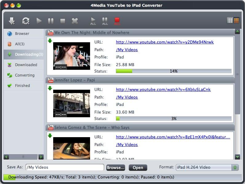 4Media YouTube to iPad Converter for Mac Screenshot