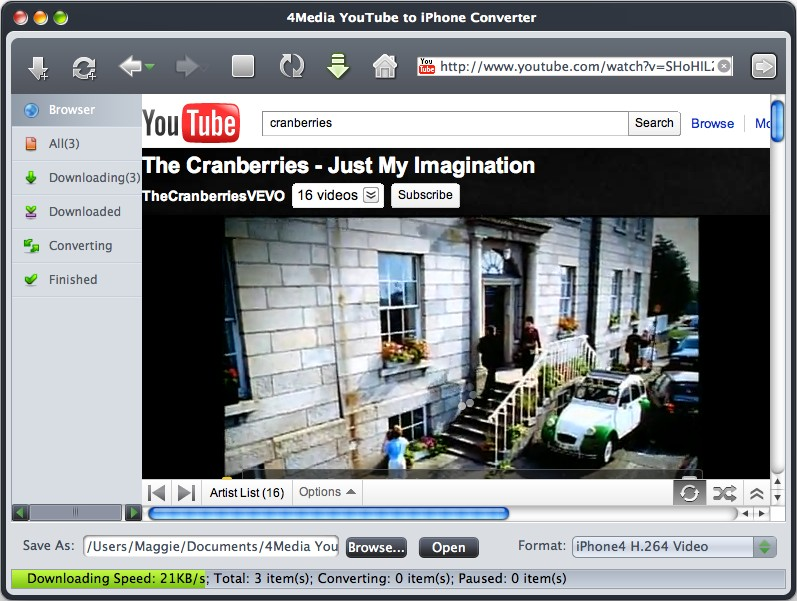 4Media YouTube to iPhone Converter for Mac Screenshot