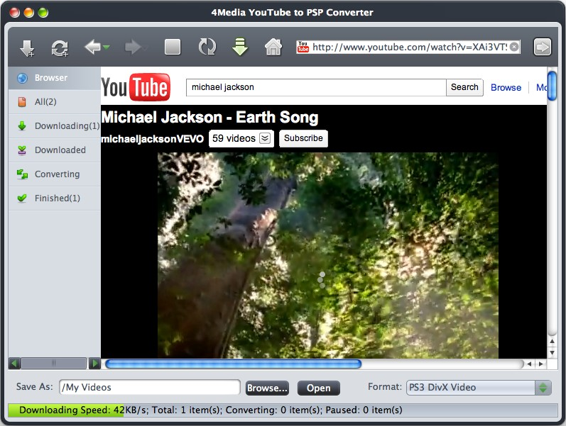 4Media YouTube to PSP Converter for Mac Screenshot