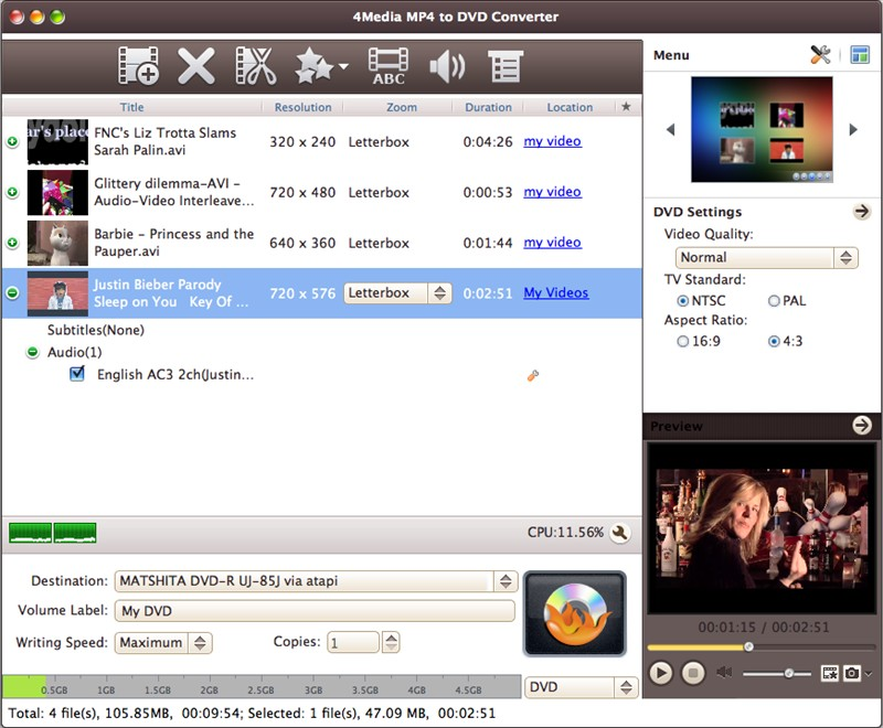4Media Mp4 to DVD Converter for Mac